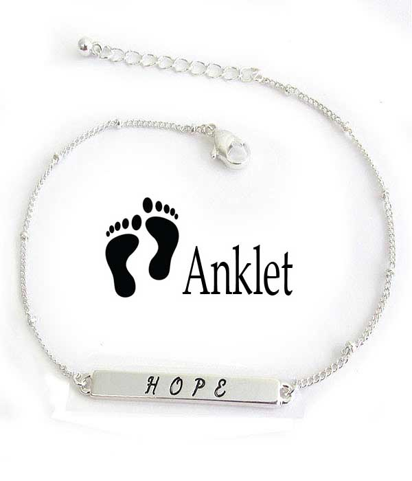 RELIGIOUS INSPIRATION ANKLET - HOPE