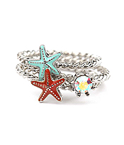SEALIFE THEME 3 PIECE RING SET - STARFISH