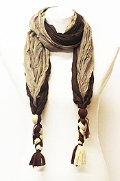 TWO TONE KNOT END SCARF