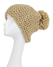 SLOUCHY KNITTED POM WINTER HAT