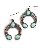 TURQUOISE SQUASH BLOSSOM EARRING