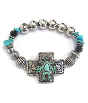 AZTEC PATTERN THUNDERBIRD CROSS STRETCH BRACELET