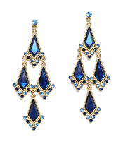 FACET GLASS AND CRYSTAL LINK DROP CHANDELIER EARRING