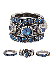 CRYSTAL AND RHINESTONE MIX 3 PAIR STRETCH RING SET