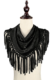 TRIANGLE SUEDE TASSEL SCARF - 100% POLYESTER