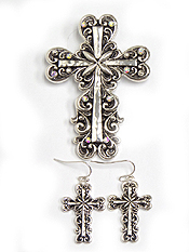CRYSTAL AND TAILORED CROSS PENDANT AND EARRING SET