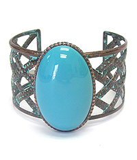 TURQUOISE AND WOVEN METAL BRACELET