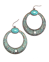 AZTEC TEXTURED TURQUOISE AND CRYSTAL HOOP DROP EARRING