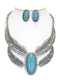 DOUBLE LAYER FEATHER STONE CENTER STATEMENT NECKLACE SET