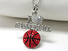 WHITEGOLD PLATING CRYSTAL STUD I LOVE BASKETBALL PENDANT NECKLACE
