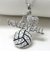 WHITEGOLD PLATING CRYSTAL STUD I LOVE VOLLEYBALL PENDANT NECKLACE