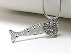 WHITEGOLD PLATING CRYSTAL STUD HEART AND FISH PENDANT NECKLACE
