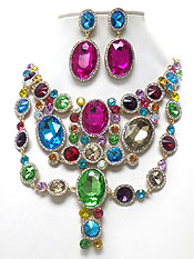 LUXURY CLASS VICTORIAN STYLE AND AUSTRIAN CRYSTAL MULTI COLOR LAYERED CRYSTAL NECKLACE SET