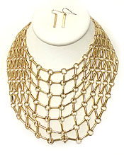 LINK METAL NET BIB NECKLACE SET