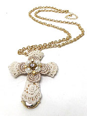 VINTAGE LACE CROSS WITH CRYSTAL CENTER NECKLACE