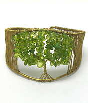 HANDMADE WIRE ART SEMI PRECIOUS STONE TREE OF LIFE THEME BANGLE BRACELET - BRASS