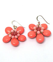 HANDMADE SEMI PRECIOUS STONE FLOWER HOOK EARRINGS