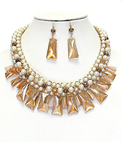 BOUTIQUE STYLE MULTI PEARL AND FACET GLASS MIX NECKLACE SET