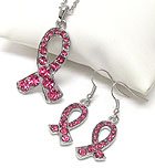 CRYSTAL PINK RIBBON NECKLACE EARRING SET - BREAST CANCER AWARENESS