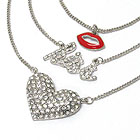 KISS THEME CRYSTAL HEART AND EPOXY LIP TRIPLE CHAIN LONG NECKLACE