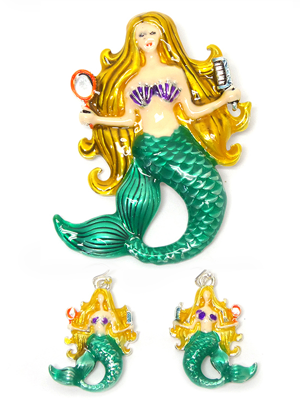 EPOXY MERMAID PENDANT AND EARRING SET