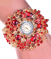 CRYSTAL FLOWER HINGE BANGLE WATCH