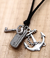 VINTAGE ANCHOR AND KEY AND ADJUSTABLE LEATHERETTE CHAIN NECKLACE - OWL ALWAYS LOVE YOU