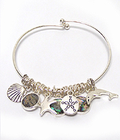 ALEX AND ANI STYLE MULTI SEALIFE AND ABALONE CHARM WIRE BANGLE BRACELET