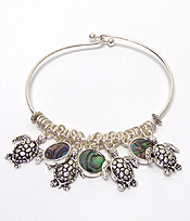 ALEX AND ANI STYLE TURTLE AND ABALONE CHARM WIRE BANGLE BRACELET