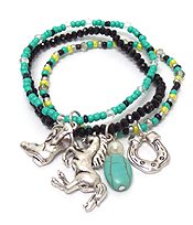 WESTERN THEME HORSE CHARM STRETCH BRACELET SET OF 3