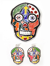 ROMERO BRITTO INSPIRED SUGAR SKULL PENDANT AND EARRING SET