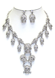 CHUNKY CRYSTAL SKULL DROP STATEMENT NECKLACE SET