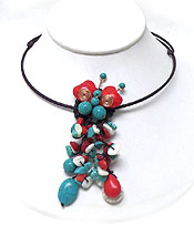HANDMADE FRESH WATER PEARL AND RED SPONGE CORAL DECO CHOCKER NECKLACE