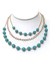 THREE LAYER TURQUOISE STONE NECKLACE SET