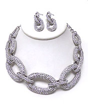 THICK BOLD PAVE LINKS NECKLACE SET