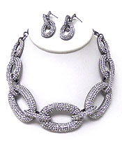 LUXURY CLASS THICK BOLD PAVE LINKS NECKLACE SET