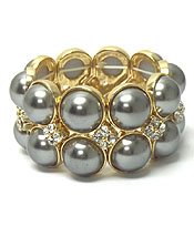 CRYSTAL AND PEARL STRETCH BRACELET