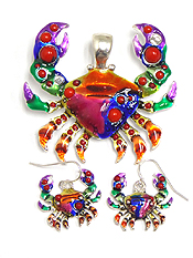 ART PAINTED CRAB PENDANT AND EARRING SET