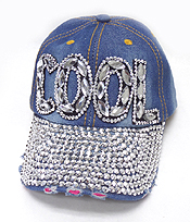 RHINESTONE WORN DENIM BASEBALL CAP - COOL