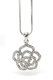WHITEGOLD PLATING MOTHERS DAY CRYSTAL FLOWER PENDANT NECKLACE