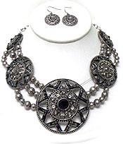 VINTAGE LINKED DISKS WITH BEADS NECKLACE SET