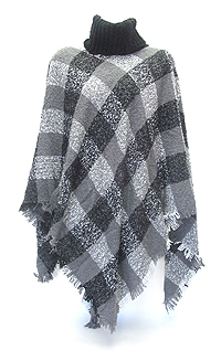 TURTLENECK AND PLAID PATTERN PONCHO - 430 G