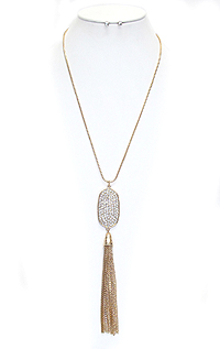 CRYSTAL PLATE AND FINE CHAIN TASSEL DROP LONG NECKLACE SET