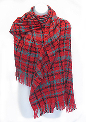 FRINGE TRIM AND PLAID PATTERN BLANKET SCARF