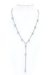 GLASS PEARL LINK Y SHAPE NECKLACE