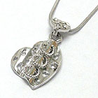WHITEGOLD PLATING THREE RING DANGLE CRYSTAL STUD HEART PENDANT NECKLACE