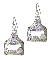 HAMMERED METAL FARM ANIMAL EARRING - COW