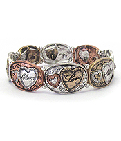 HEART LINK STRETCH BRACELET - MOM LOVE