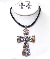 TEXTURED METAL LARGE CROSS NECKLACE SET