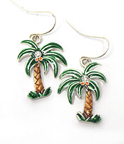 PALM TREE WITH CRYSTAL FISH HOOK EARRINGS